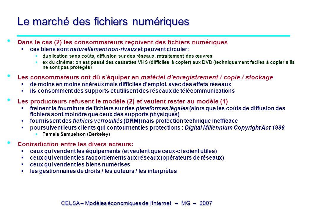 CELSA – Modèles économiques de l'Internet – MG – 2007 Le marché des fichiers numériques Dans le cas (2) les consommateurs reçoivent des fichiers numér