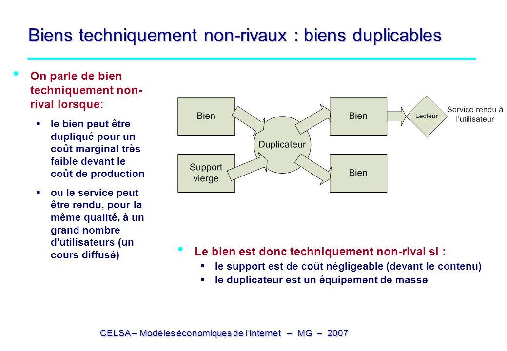 CELSA – Modèles économiques de l'Internet – MG – 2007 Biens techniquement non-rivaux : biens duplicables On parle de bien techniquement non- rival lor