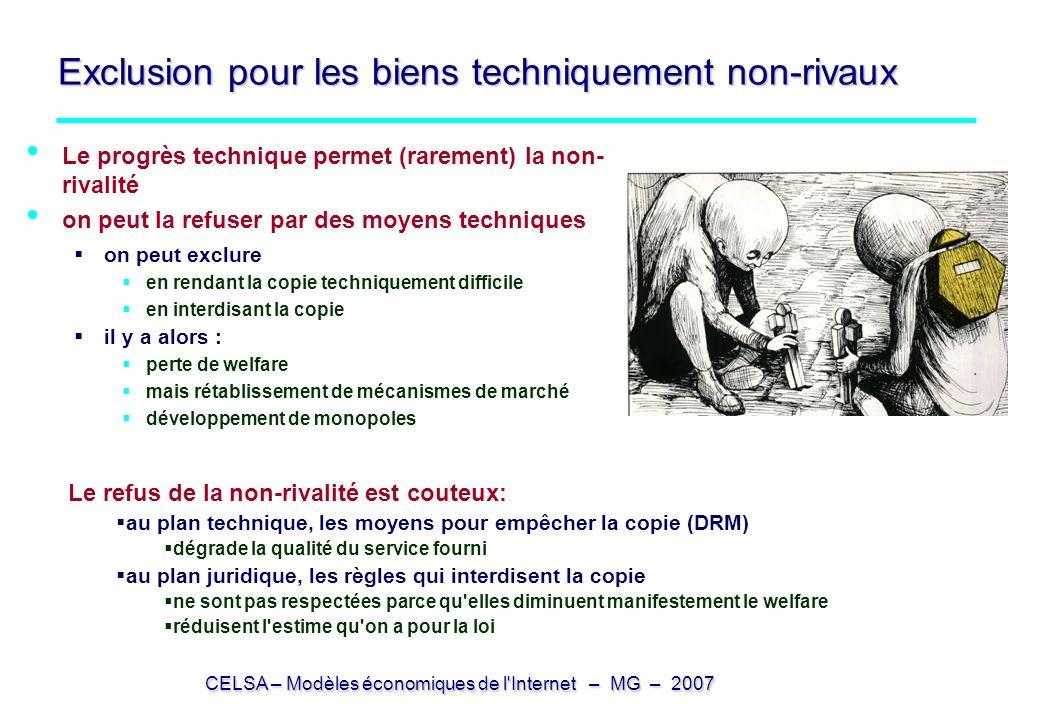CELSA – Modèles économiques de l'Internet – MG – 2007 Exclusion pour les biens techniquement non-rivaux Le progrès technique permet (rarement) la non-