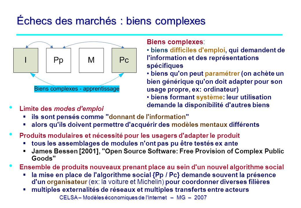 CELSA – Modèles économiques de l'Internet – MG – 2007 Échecs des marchés : biens complexes Limite des modes d'emploi ils sont pensés comme