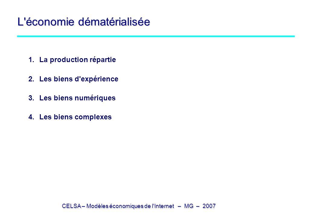 CELSA – Modèles économiques de l'Internet – MG – 2007 L'économie dématérialisée 1.La production répartie 2.Les biens d'expérience 3.Les biens numériqu