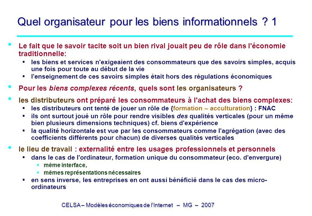 CELSA – Modèles économiques de l'Internet – MG – 2007 Quel organisateur pour les biens informationnels ? 1 Le fait que le savoir tacite soit un bien r