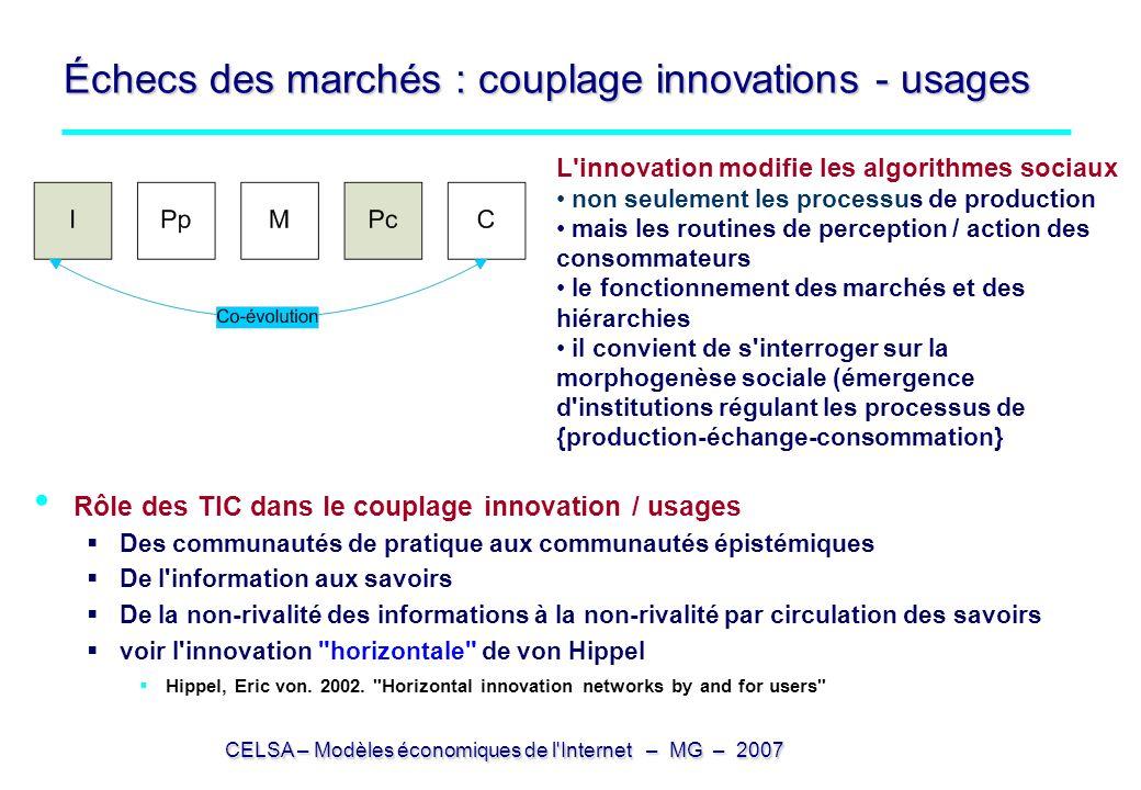 CELSA – Modèles économiques de l'Internet – MG – 2007 Échecs des marchés : couplage innovations - usages Rôle des TIC dans le couplage innovation / us