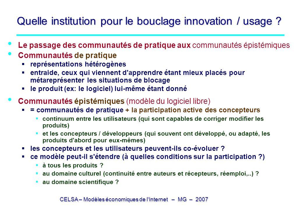 CELSA – Modèles économiques de l'Internet – MG – 2007 Quelle institution pour le bouclage innovation / usage ? Le passage des communautés de pratique