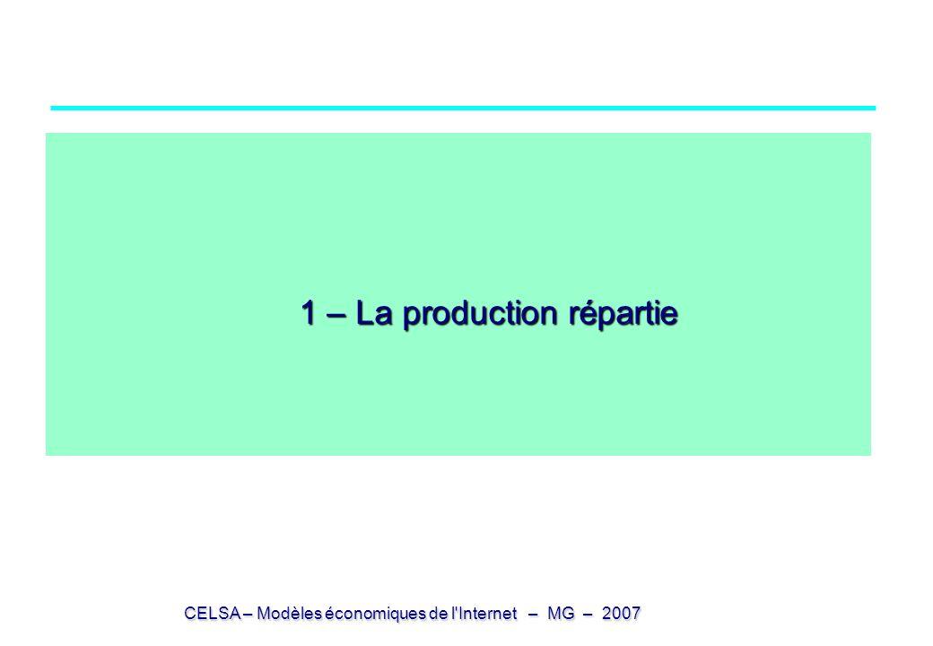 CELSA – Modèles économiques de l Internet – MG – 2007 Biens dématérialisés (numérisation) Les biens qui circulent entre producteurs et consommateurs sont dits informationnels dématérialisables (ou numérisables) si à un moment quelconque ils peuvent être réduits à un fichier (suite de 0 et 1) sans perte de qualité ultérieure Dans tous les cas, le bien (ou le service) est [aujourd hui] matérialisé au moment de la phase initiale de production [sauf production automatique] au moment de la phase finale de consommation [sauf interface directe avec système nerveux] La numérisation et la matérialisation demandent des équipements onéreux Le service initial peut être qualitativement modifié (au moins pour un temps) le spectacle vivant (café concert, music hall,..) vs le même spectacle au cinéma