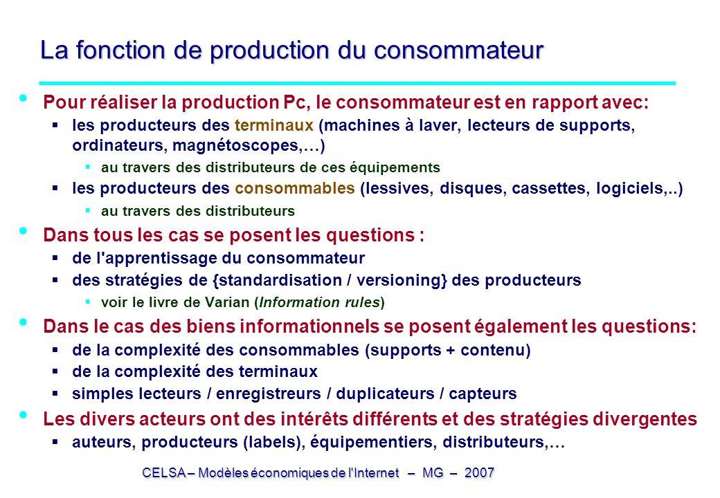CELSA – Modèles économiques de l'Internet – MG – 2007 La fonction de production du consommateur Pour réaliser la production Pc, le consommateur est en