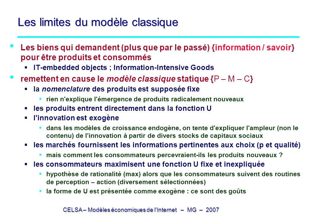 CELSA – Modèles économiques de l'Internet – MG – 2007 Les limites du modèle classique Les biens qui demandent (plus que par le passé) {information / s