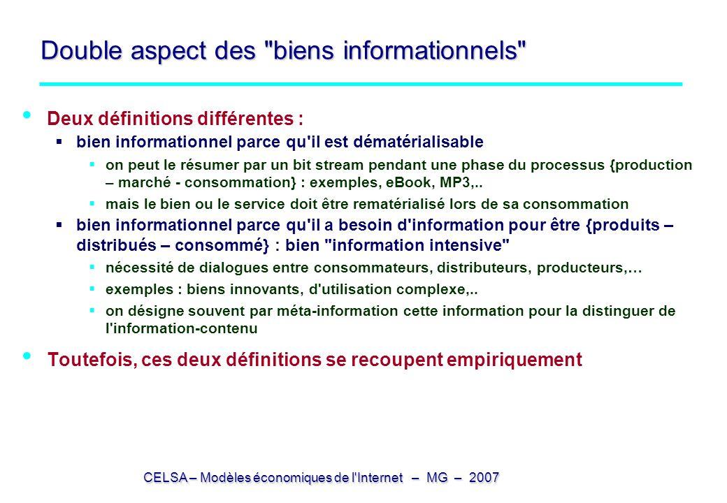 CELSA – Modèles économiques de l'Internet – MG – 2007 Double aspect des