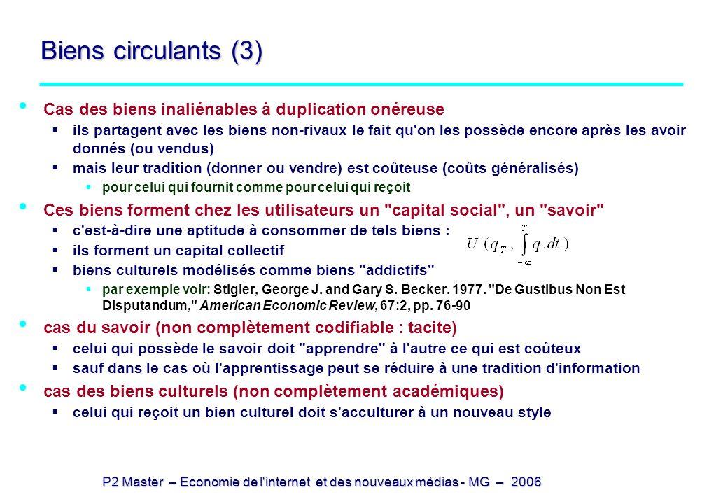 P2 Master – Economie de l'internet et des nouveaux médias - MG – 2006 Biens circulants (3) Cas des biens inaliénables à duplication onéreuse ils parta
