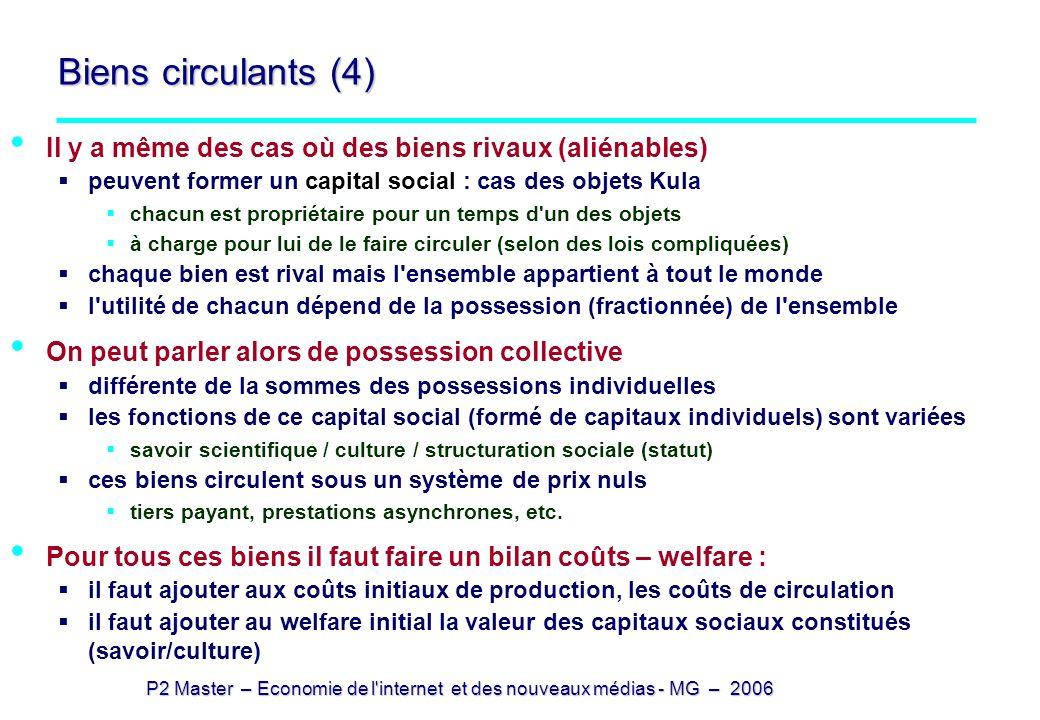 P2 Master – Economie de l'internet et des nouveaux médias - MG – 2006 Biens circulants (4) Il y a même des cas où des biens rivaux (aliénables) peuven