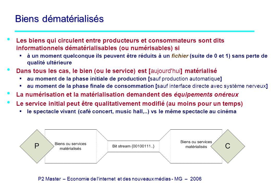 P2 Master – Economie de l internet et des nouveaux médias - MG – 2006 Trois modèles selon la maîtrise de la numérisation Trois cas sont possibles selon les positions relatives de la numérisation et du marché: 1 – la numérisation est interne au processus de production le bien (ou le service) est fourni au consommateur sous forme matérielle les gains de productivité sont obtenus par les producteurs et se retrouvent +/- dans les prix cas du cinéma (où la reproduction du négatif joue le rôle de la duplication numérique) 2 – le bien se retrouve sur le marché sous forme de fichier numérique 3 - le consommateur numérise lui-même les biens qu il achète ou qu il produit photo numérique (cas des musées, qui interdisent la photo pour protéger le modèle ancien)