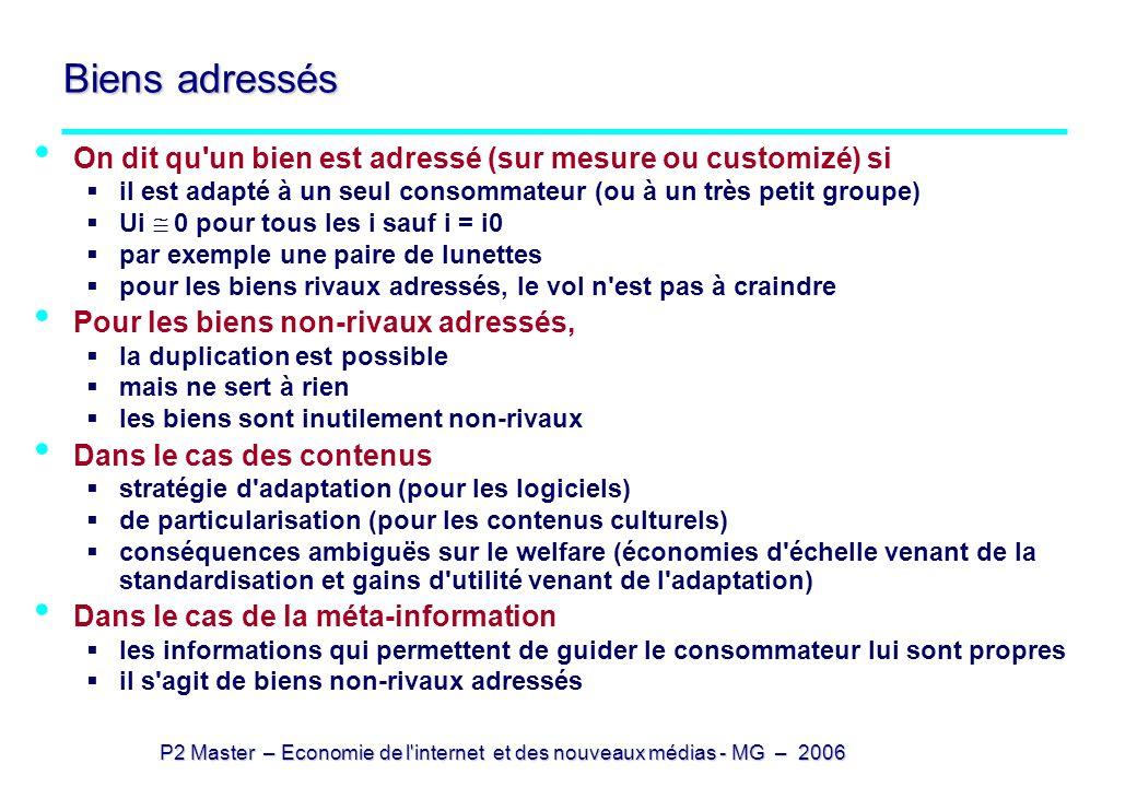 P2 Master – Economie de l'internet et des nouveaux médias - MG – 2006 Biens adressés On dit qu'un bien est adressé (sur mesure ou customizé) si il est