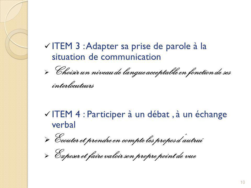 ITEM 3 : Adapter sa prise de parole à la situation de communication Choisir un niveau de langue acceptable en fonction de ses interlocuteurs ITEM 4 :