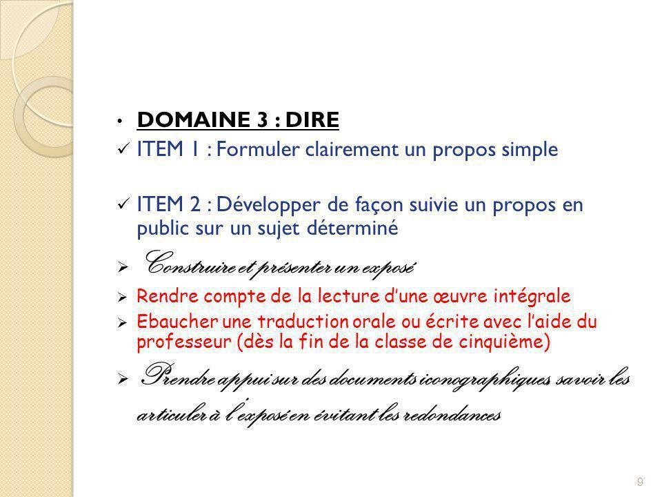 DOMAINE 3 : DIRE ITEM 1 : Formuler clairement un propos simple ITEM 2 : Développer de façon suivie un propos en public sur un sujet déterminé Construi