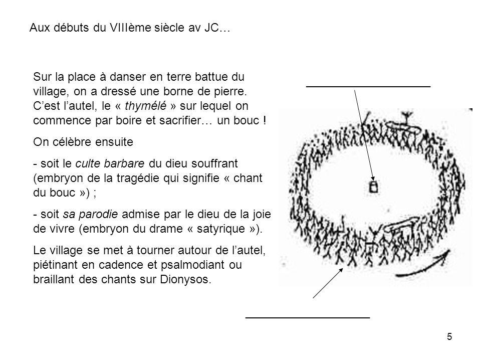 5 Sur la place à danser en terre battue du village, on a dressé une borne de pierre. Cest lautel, le « thymélé » sur lequel on commence par boire et s