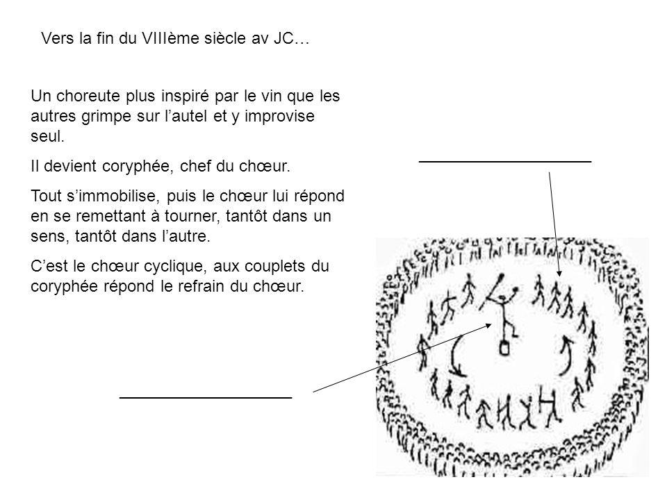 7 Vers la fin du VIIIème siècle av JC… Un choreute plus inspiré par le vin que les autres grimpe sur lautel et y improvise seul. Il devient coryphée,