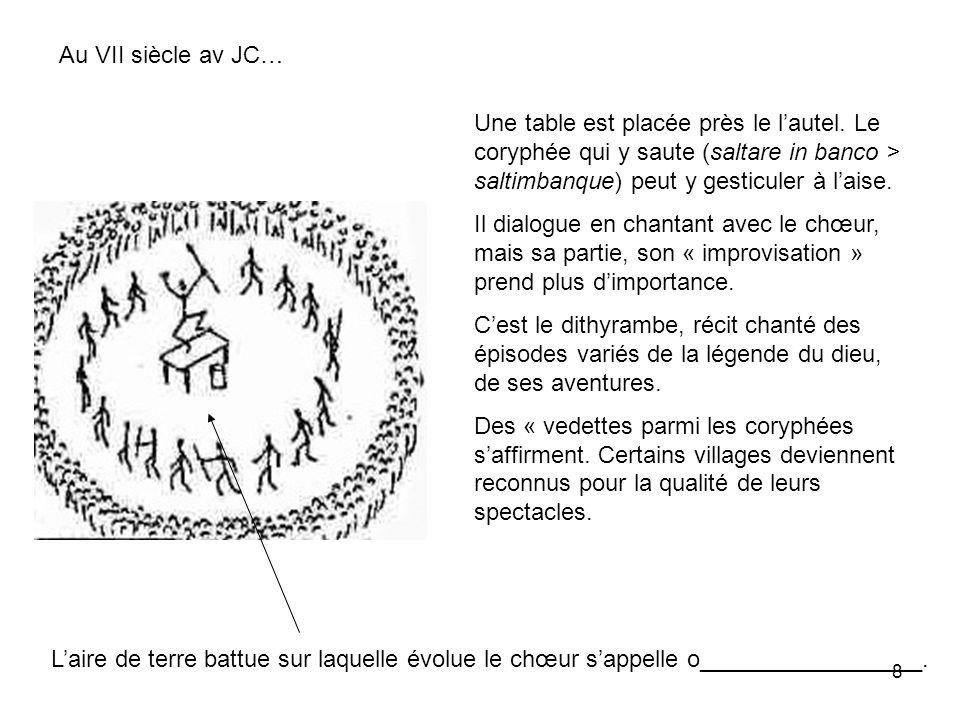 8 Au VII siècle av JC… Une table est placée près le lautel. Le coryphée qui y saute (saltare in banco > saltimbanque) peut y gesticuler à laise. Il di