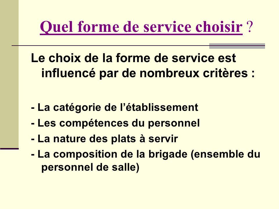 Quel forme de service choisir ? Le choix de la forme de service est influencé par de nombreux critères : - La catégorie de létablissement - Les compét