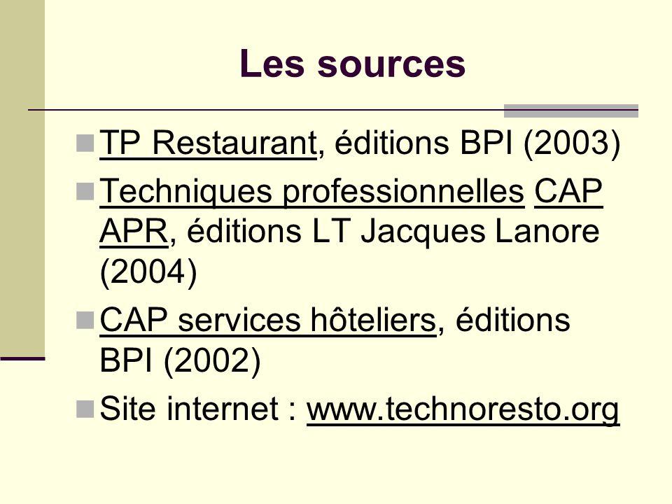 Les sources TP Restaurant, éditions BPI (2003) Techniques professionnelles CAP APR, éditions LT Jacques Lanore (2004) CAP services hôteliers, éditions
