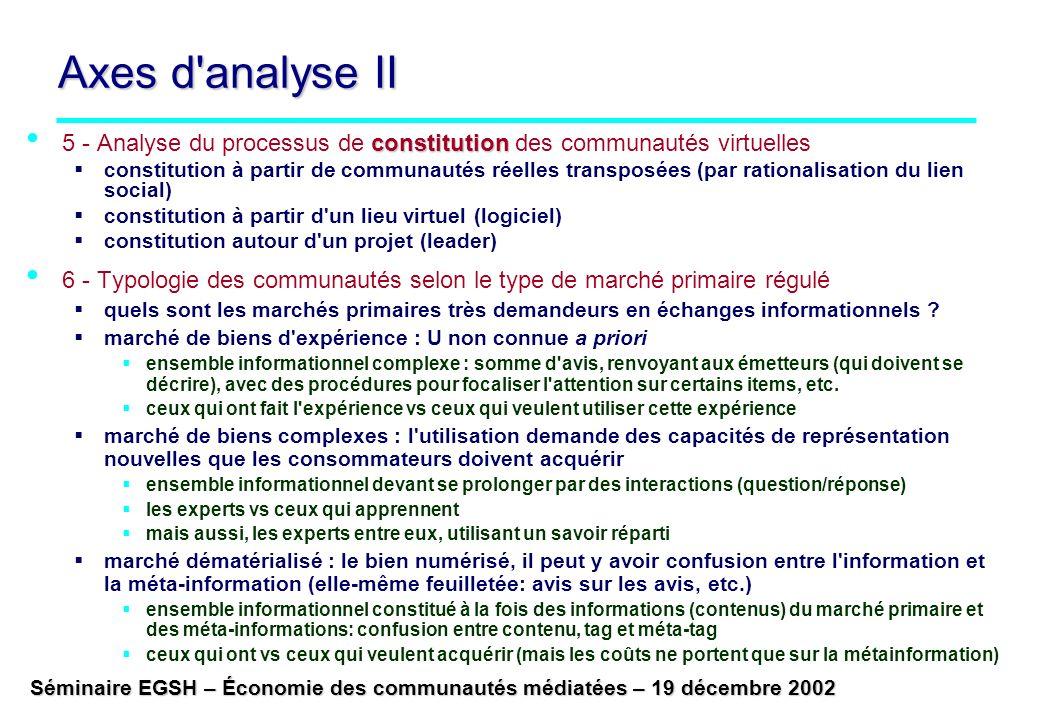Séminaire EGSH – Économie des communautés médiatées – 19 décembre 2002 Axes d'analyse II constitution 5 - Analyse du processus de constitution des com