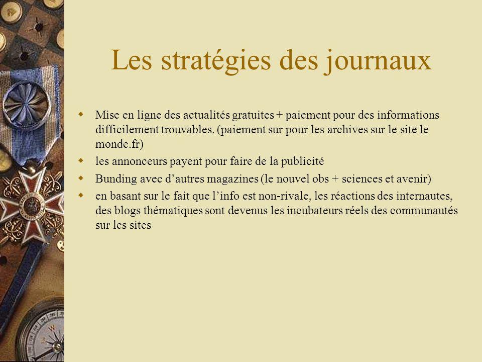Les stratégies des journaux Mise en ligne des actualités gratuites + paiement pour des informations difficilement trouvables. (paiement sur pour les a