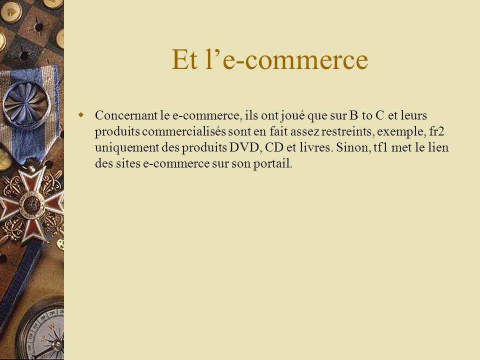 Et le-commerce Concernant le e-commerce, ils ont joué que sur B to C et leurs produits commercialisés sont en fait assez restreints, exemple, fr2 uniquement des produits DVD, CD et livres.