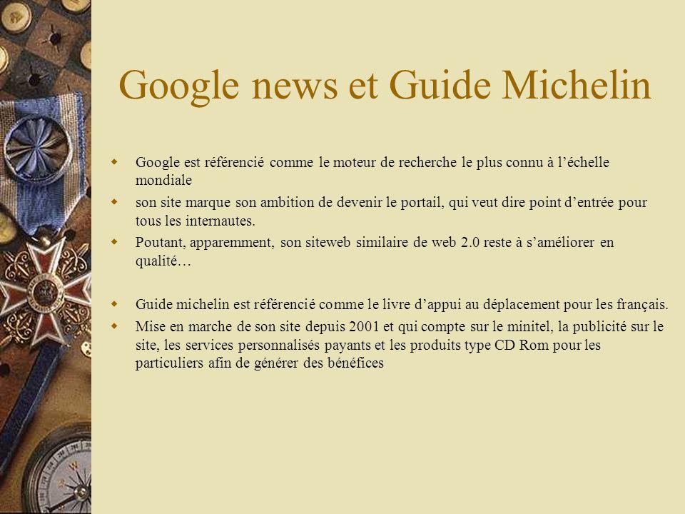 Google news et Guide Michelin Google est référencié comme le moteur de recherche le plus connu à léchelle mondiale son site marque son ambition de devenir le portail, qui veut dire point dentrée pour tous les internautes.