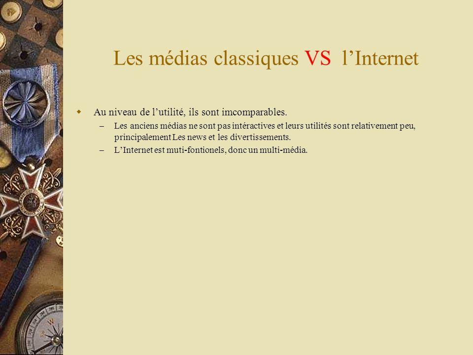 Les médias classiques VS lInternet Au niveau de lutilité, ils sont imcomparables. – Les anciens médias ne sont pas intéractives et leurs utilités sont