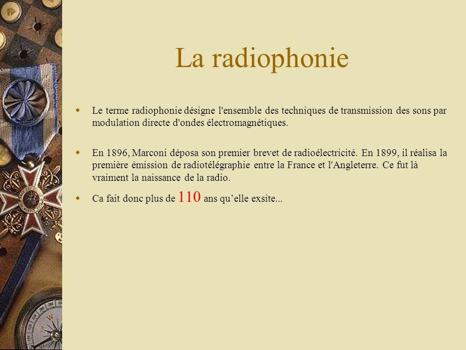 La radiophonie Le terme radiophonie désigne l'ensemble des techniques de transmission des sons par modulation directe d'ondes électromagnétiques. En 1