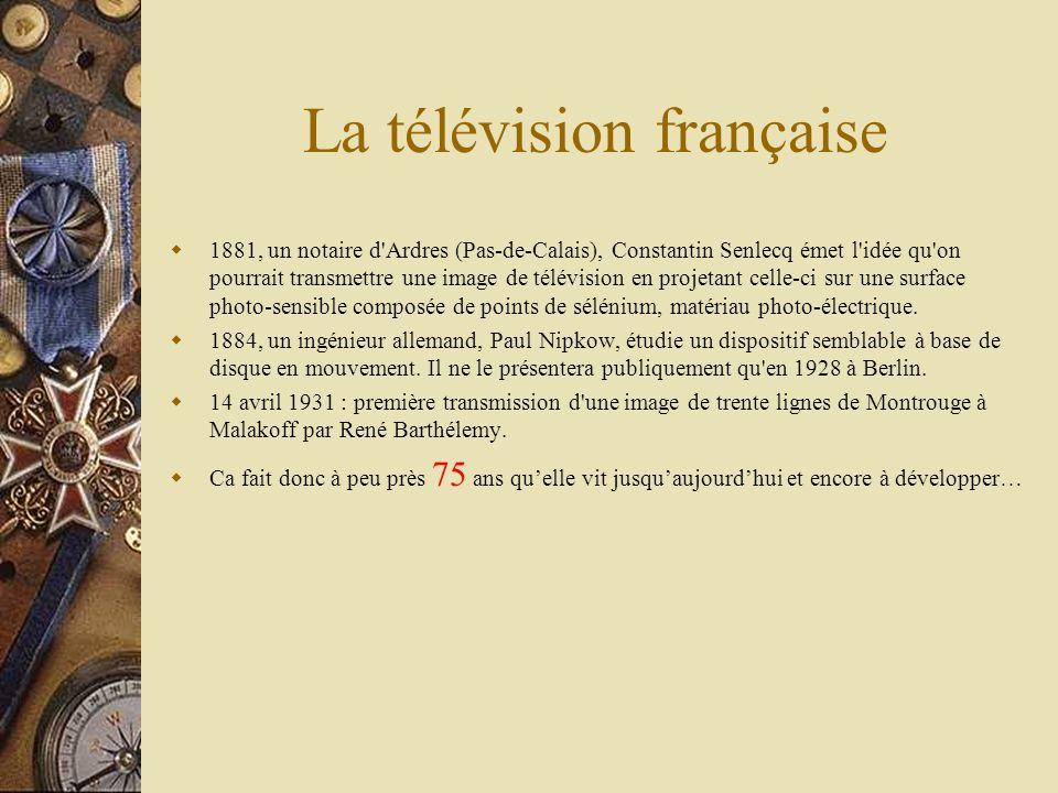 La télévision française 1881, un notaire d Ardres (Pas-de-Calais), Constantin Senlecq émet l idée qu on pourrait transmettre une image de télévision en projetant celle-ci sur une surface photo-sensible composée de points de sélénium, matériau photo-électrique.