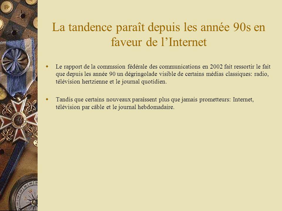 La tandence paraît depuis les année 90s en faveur de lInternet Le rapport de la commssion fédérale des communications en 2002 fait ressortir le fait q