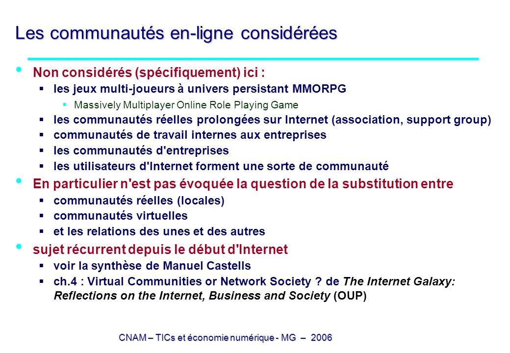 CNAM – TICs et économie numérique - MG – 2006 Les communautés en-ligne considérées Non considérés (spécifiquement) ici : les jeux multi-joueurs à univ