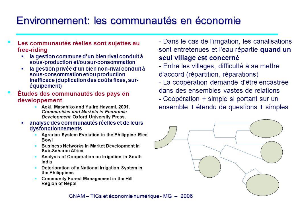 CNAM – TICs et économie numérique - MG – 2006 Environnement: les communautés en économie Les communautés réelles sont sujettes au free-riding la gesti