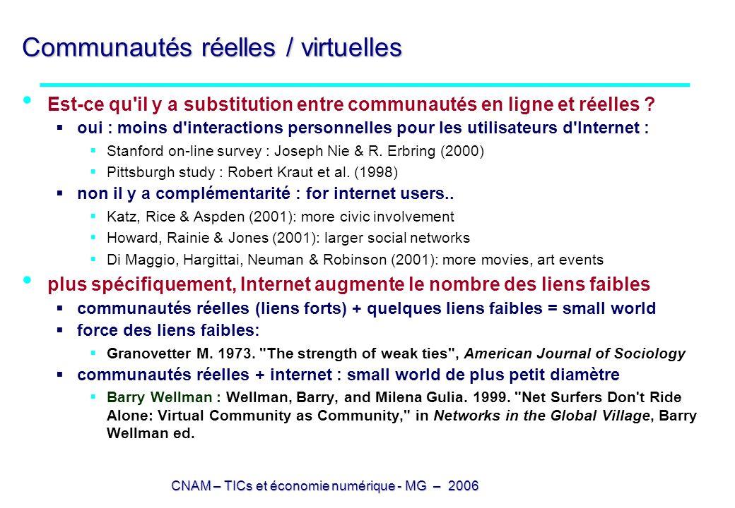 CNAM – TICs et économie numérique - MG – 2006 Communautés réelles / virtuelles Est-ce qu'il y a substitution entre communautés en ligne et réelles ? o