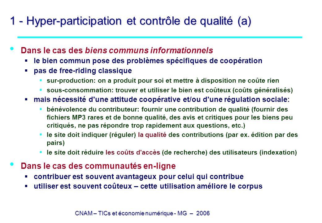CNAM – TICs et économie numérique - MG – 2006 1 - Hyper-participation et contrôle de qualité (b) écrire est avantageux pour celui qui écrit signalement de ses compétences (dans le cas des logiciels libres) (analyse de Tirole) Lerner J., Tirole J.
