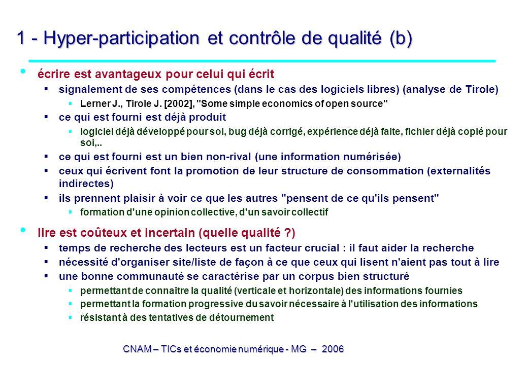 CNAM – TICs et économie numérique - MG – 2006 1 - Hyper-participation et contrôle de qualité (b) écrire est avantageux pour celui qui écrit signalemen