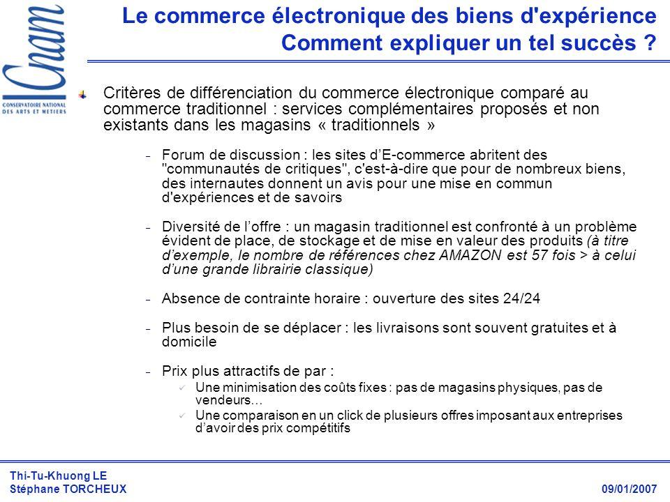 Thi-Tu-Khuong LE Stéphane TORCHEUX 09/01/2007 Critères de différenciation du commerce électronique comparé au commerce traditionnel : services complém