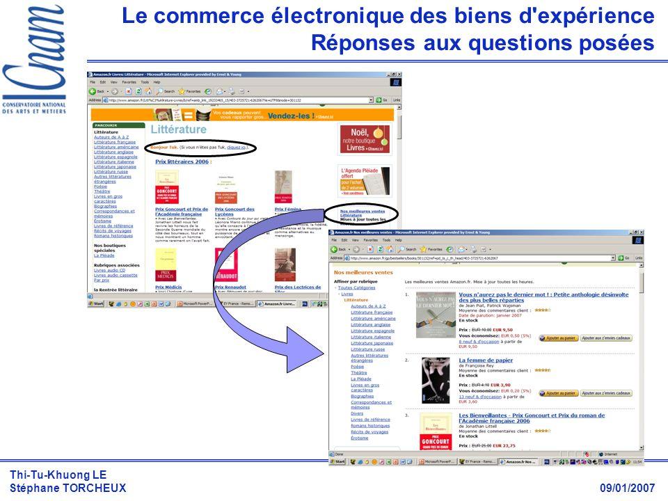Thi-Tu-Khuong LE Stéphane TORCHEUX 09/01/2007 Le commerce électronique des biens d'expérience Réponses aux questions posées