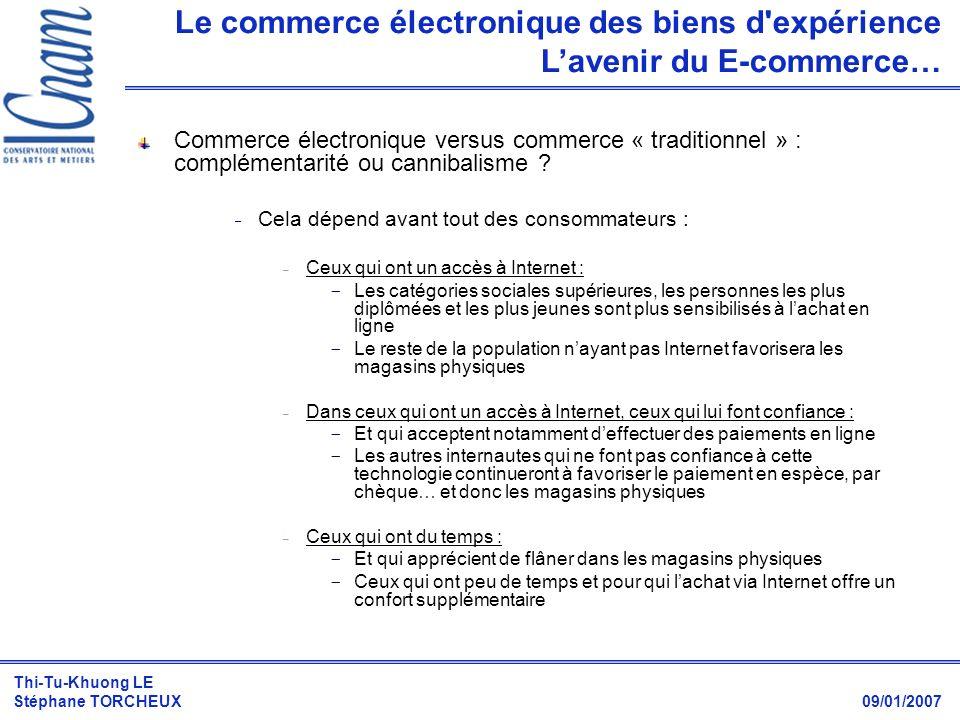 Thi-Tu-Khuong LE Stéphane TORCHEUX 09/01/2007 Commerce électronique versus commerce « traditionnel » : complémentarité ou cannibalisme ?  Cela dépend