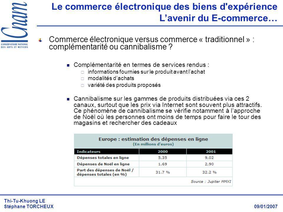 Thi-Tu-Khuong LE Stéphane TORCHEUX 09/01/2007 Commerce électronique versus commerce « traditionnel » : complémentarité ou cannibalisme ? Complémentari