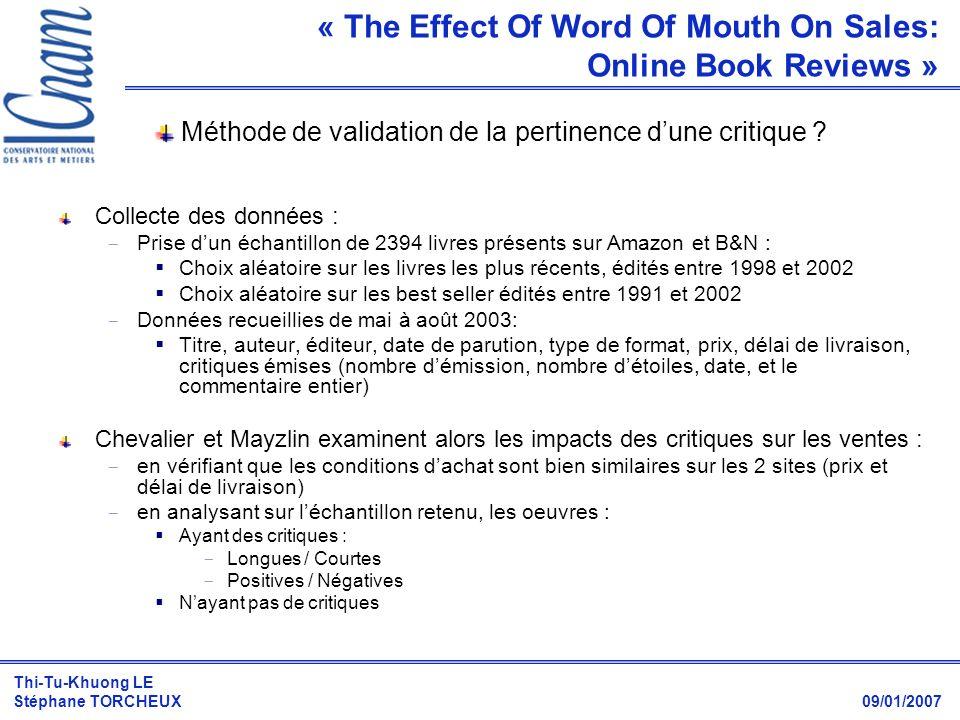 Thi-Tu-Khuong LE Stéphane TORCHEUX 09/01/2007 Méthode de validation de la pertinence dune critique ? Collecte des données :  Prise dun échantillon de