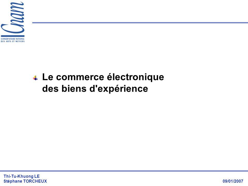 Thi-Tu-Khuong LE Stéphane TORCHEUX 09/01/2007 Croissance estimée du commerce en ligne Explication probable dun tel succès : parfaite adéquation avec les besoins des clients qui veulent bénéficier des externalités de consommation.