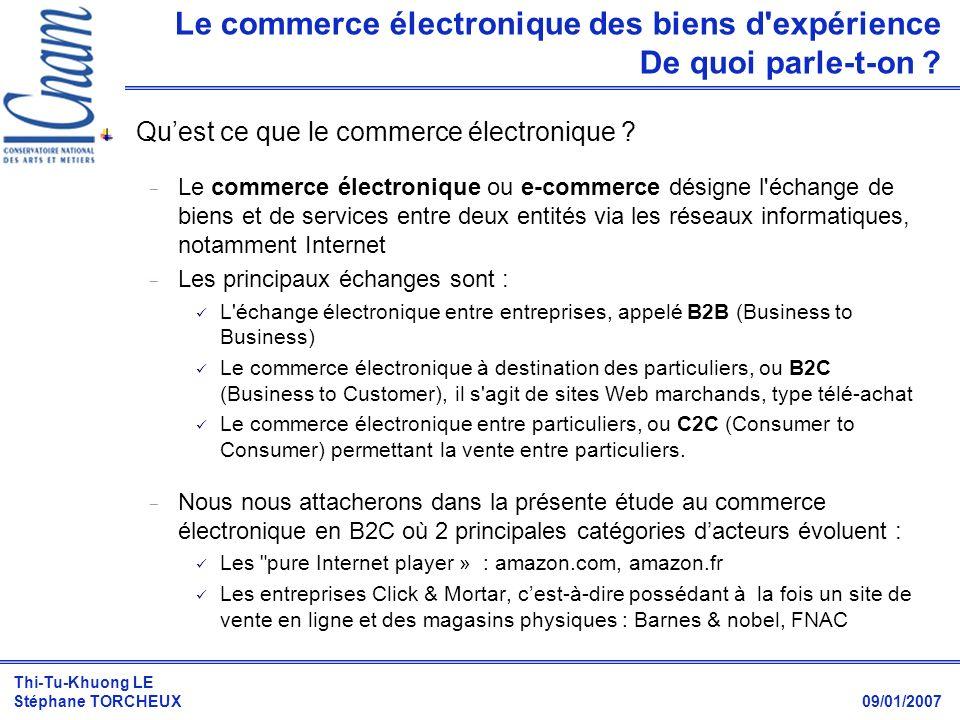 Thi-Tu-Khuong LE Stéphane TORCHEUX 09/01/2007 Le commerce électronique des biens d'expérience De quoi parle-t-on ? Quest ce que le commerce électroniq