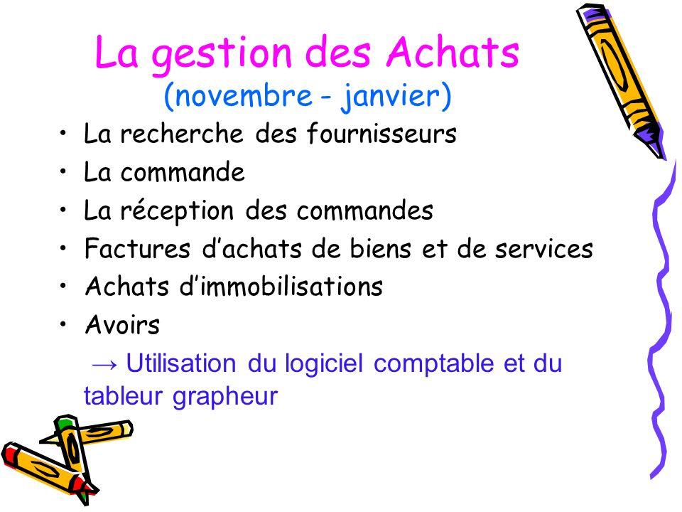 La gestion des Achats (novembre - janvier) La recherche des fournisseurs La commande La réception des commandes Factures dachats de biens et de servic