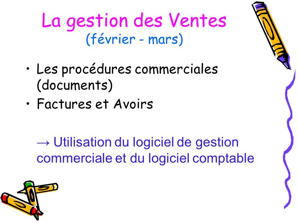 La gestion des Ventes (février - mars) Les procédures commerciales (documents) Factures et Avoirs Utilisation du logiciel de gestion commerciale et du