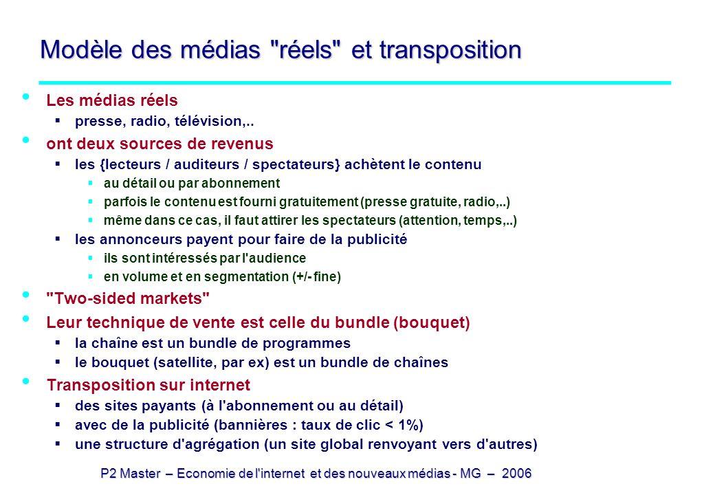 P2 Master – Economie de l'internet et des nouveaux médias - MG – 2006 Modèle des médias