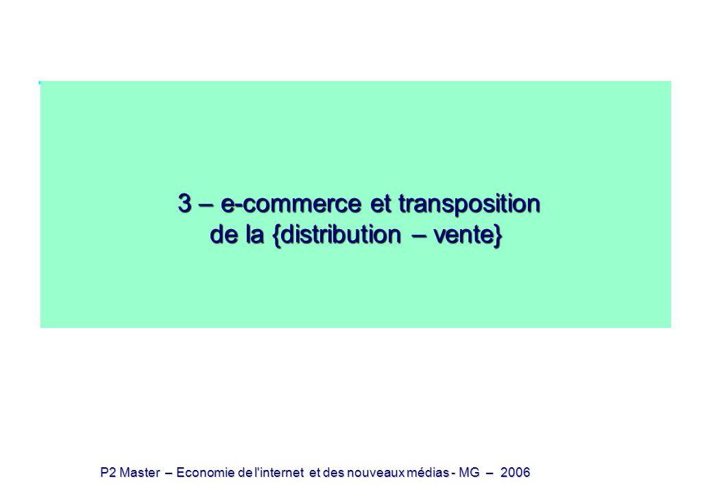 P2 Master – Economie de l'internet et des nouveaux médias - MG – 2006 3 – e-commerce et transposition de la {distribution – vente} 3 – e-commerce et t