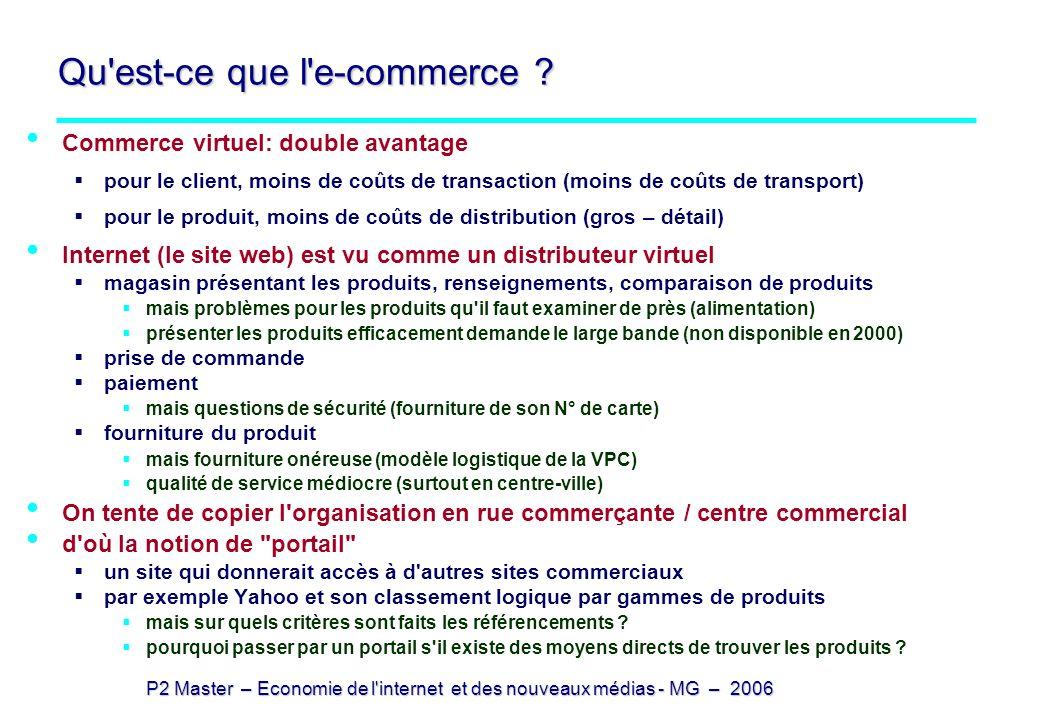 P2 Master – Economie de l'internet et des nouveaux médias - MG – 2006 Qu'est-ce que l'e-commerce ? Commerce virtuel: double avantage pour le client, m