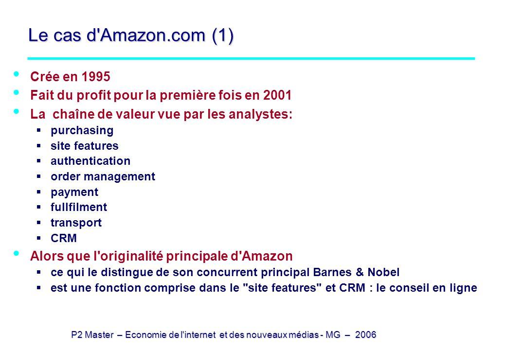 P2 Master – Economie de l'internet et des nouveaux médias - MG – 2006 Le cas d'Amazon.com (1) Crée en 1995 Fait du profit pour la première fois en 200