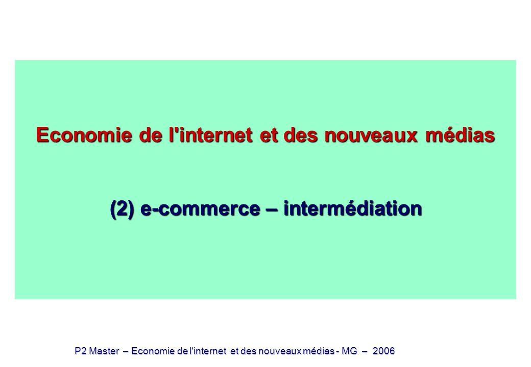 P2 Master – Economie de l internet et des nouveaux médias - MG – 2006 La transposition sur Internet des modèles réels 1.Web commercial vs web non-commercial 2.La transposition du modèle {média / publicité} 3.e-commerce et transposition de la {distribution – vente} 4.De la vente à l intermédiation 5.(des)intermédiation – production modulaire